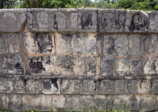 Platform of the Skulls, Chichen Itza. Pictured is a tzompantli or skull rack in Chichen Itza.  It is a type of wooden rack or palisade documented in several Stock Image