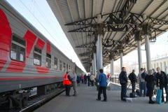 Platform station, landing on the train Stock Image