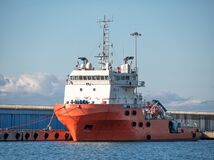Free Platform Supply Vessel Anchored In Sea Port Stock Photography - 169904692