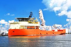 Platform Supply Vessel. An offshore platform supply vessel used in the oil and gas offshore industry in South Louisiana Stock Photos
