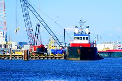 Platform Supply Vessel. An offshore platform supply vessel used in the oil and gas offshore industry in South Louisiana Stock Image
