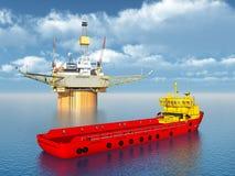 Platform Supply Vessel and Oil Platform Stock Photography