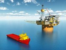 Platform Supply Vessel and Oil Platform Stock Images