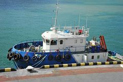 Platform supply vessel. PSV in harbor quayside Stock Images