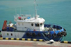 Platform supply vessel. PSV in harbor quayside Royalty Free Stock Image