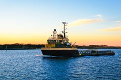 Platform Supply Vessel. A Platform Supply Vessel used in the offshore oil and gas industry in South Louisiana Stock Image