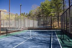 Platform paddle tennis court at private suburban club Royalty Free Stock Photos