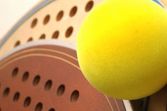 platform tennis Balls and paddles macro Royalty Free Stock Photo