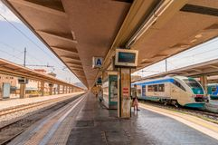 Platform and train at Palermo railway station, Italy Royalty Free Stock Photo