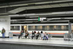 The platform of the train station in Barcelona. Stock Photos