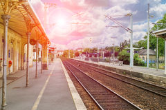 Platform the train station of provincial French town Stock Image