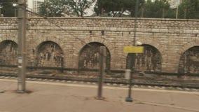 Platform in train window. stock video