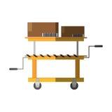 platform trolley lifting boxes cargo shadow Royalty Free Stock Photos