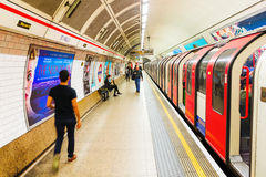 Platform of an underground station in London, UK Stock Photo