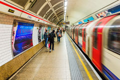 Platform of an underground station in London, UK Stock Photography