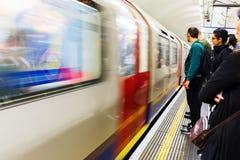 Platform of an underground station in London, UK Royalty Free Stock Photo