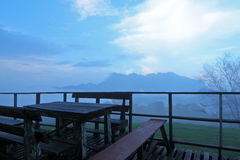 Platform and view of foggy mountain Stock Photography