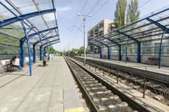 The platform and the way the light rail in Kiev. Ukraine Stock Photography