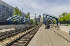 The platform and the way the light rail in Kiev. Ukraine Stock Images