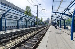 The platform and the way the light rail in Kiev. Ukraine Stock Image