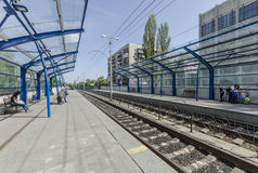 The platform and the way the light rail in Kiev. Ukraine Stock Photo