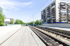 The platform and the way the light rail in Kiev. Ukraine Royalty Free Stock Photo