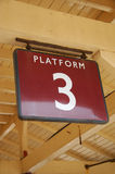 Platform3. Platform sign on a british railway station Stock Images