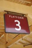 Platform3. Platform sign on a british railway station stock images
