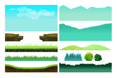 Platformer Game Assets,Set of game elements. Elements for mobile game, 2d game application. Vector Illustration for your project Royalty Free Stock Photos