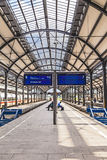 Platforms in the classicistic railway station in Wiesbaden Royalty Free Stock Images