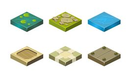 Platforms of different ground textures set, user interface assets for mobile app or video game vector Illustration on a. Platforms of different ground textures stock illustration