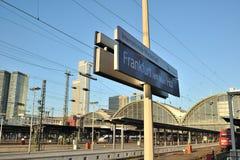 Platforms in Frankfurt railway station Stock Photo