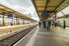 Platforms at the Geneva-Cornavin Airport railway station Royalty Free Stock Image