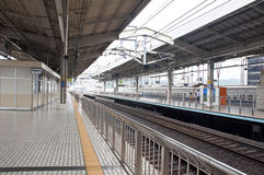 Platforms at Kyoto Station. Walk without people in the station of Kyoto, Japan Stock Image