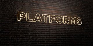 PLATFORMS -Realistic Neon Sign on Brick Wall background - 3D rendered royalty free stock image. Can be used for online banner ads and direct mailers Stock Illustration