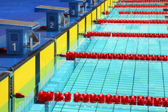 Platforms for start in swimming pool. Four platforms for start in swimming pool Stock Image