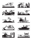 Platforms for take off and landing of helicopter. Various platforms for take off and landing of helicopter - vector illustration Stock Photos