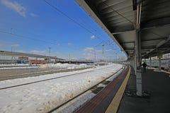 Platfrom следа поезда в зиме Стоковое Изображение RF