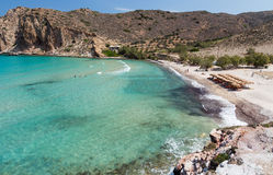 Plathiena beach, Milos island, Cyclades, Greece Royalty Free Stock Photos