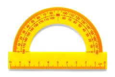 Yellow Protractor. Platic Yellow Protractor Isolated on a White Background royalty free stock photos