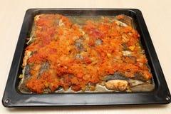 Platija cocida con las verduras Foto de archivo libre de regalías