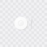 Platillo blanco con una cucharita de café Poco vector de la placa Presente la configuración Imágenes de archivo libres de regalías