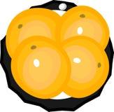 Platillo con cuatro naranjas stock de ilustración
