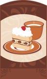 Platillo con la taza de la torta y de café en el ornamental  Foto de archivo