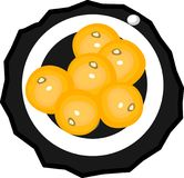 Platillo con seis mandarines stock de ilustración