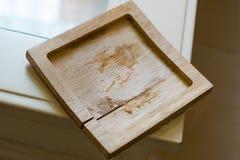Platillo de madera con un poco mojado Imagenes de archivo