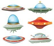 Platillo volante, nave espacial y sistema del UFO stock de ilustración