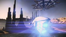 Platillo volante que saca en imágenes de vídeo futuristas de la ciudad