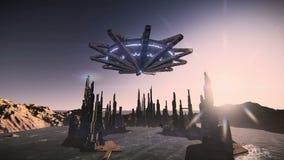 Platillo volante que saca en un vídeo futurista de la cantidad de la ciudad