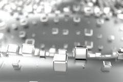 A platina do ouro de prata ou branco obstrui cubos sobre o fundo da onda Ilustração da modelagem 3d bitcoin rico da mineração da  ilustração do vetor